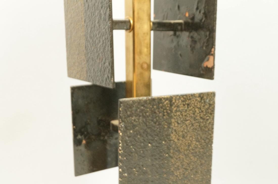Brutalist Black Metal Panel Brass Column Lamp. Te - 5