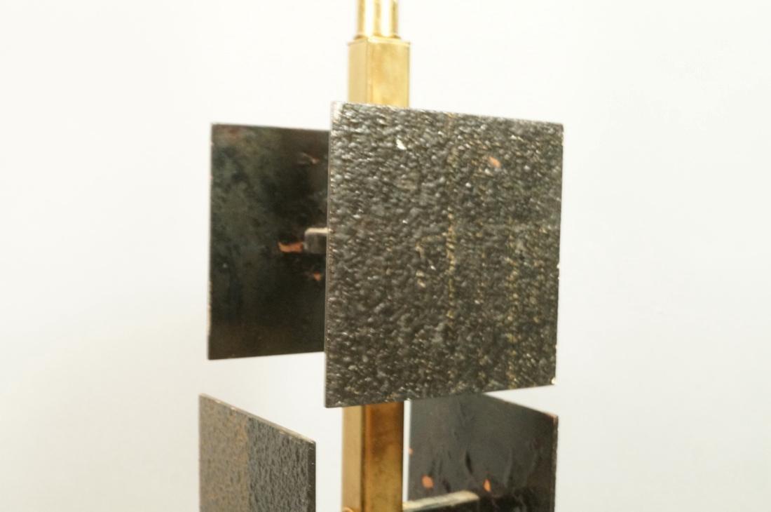 Brutalist Black Metal Panel Brass Column Lamp. Te - 6