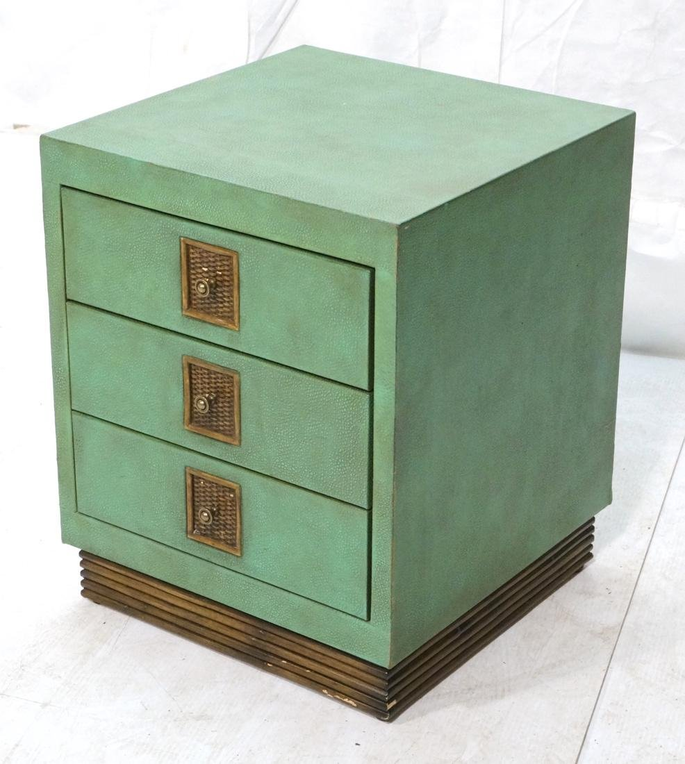 SHAGREEN Style 3 Drawer Green Night Stand. Textur