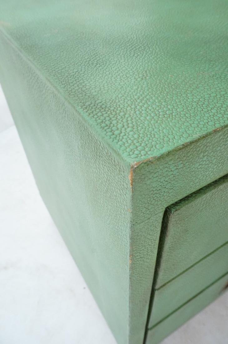 SHAGREEN Style 3 Drawer Green Night Stand. Textur - 5