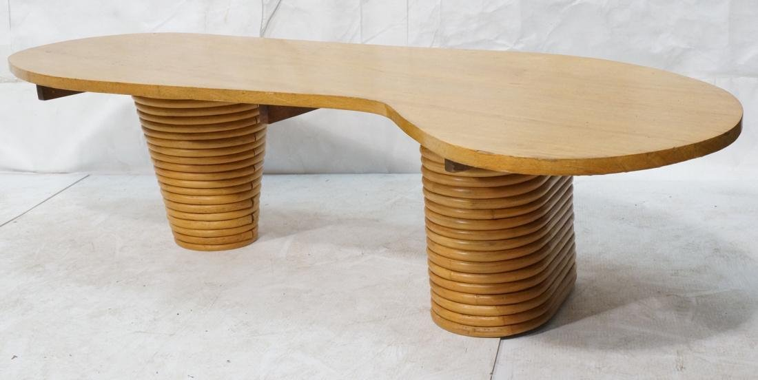 PAUL FRANKL Bamboo Banded Base Cocktail Table. Am