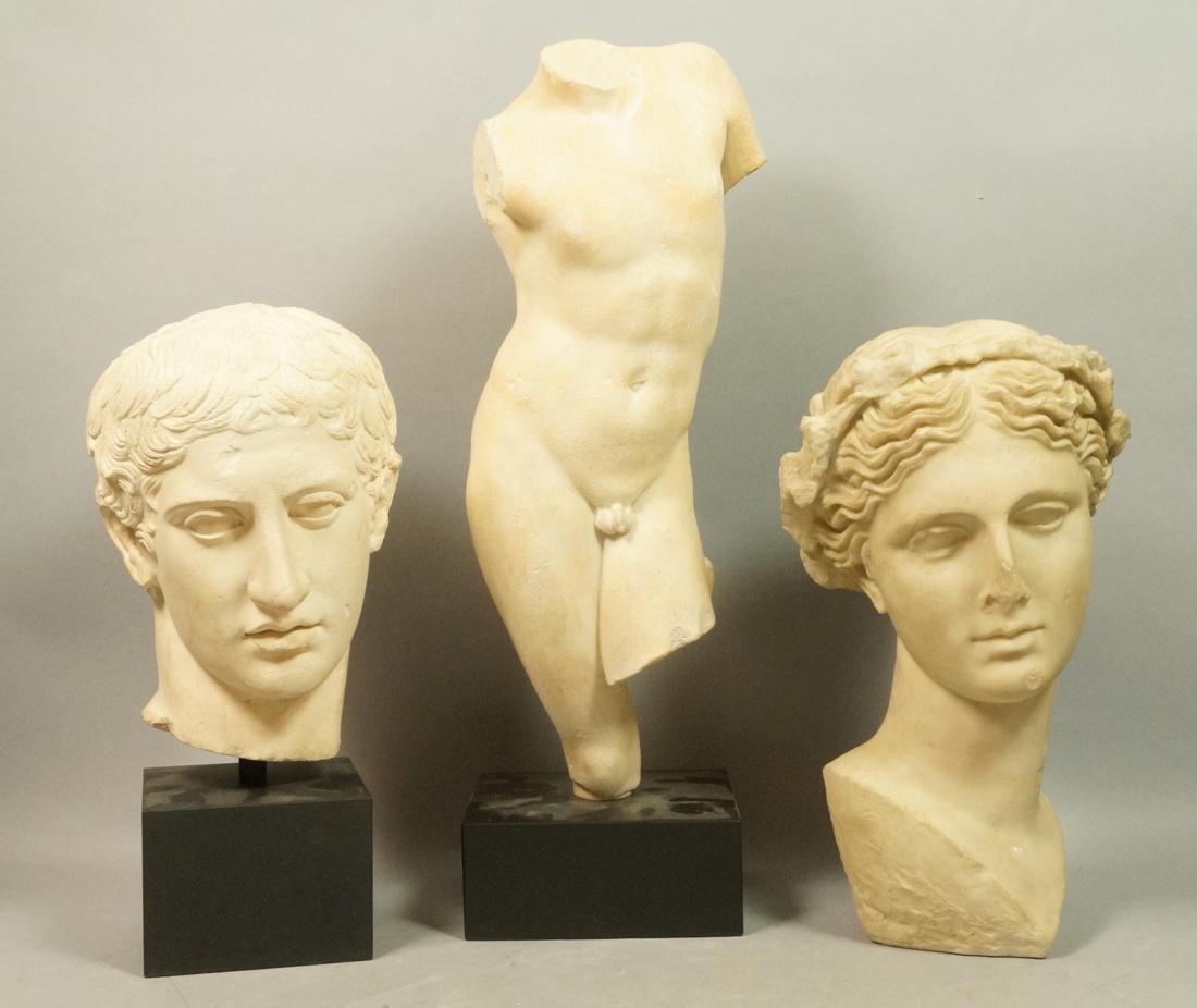 3 Pc Roman Antiquity Reproduction Sculpture. 2 bu