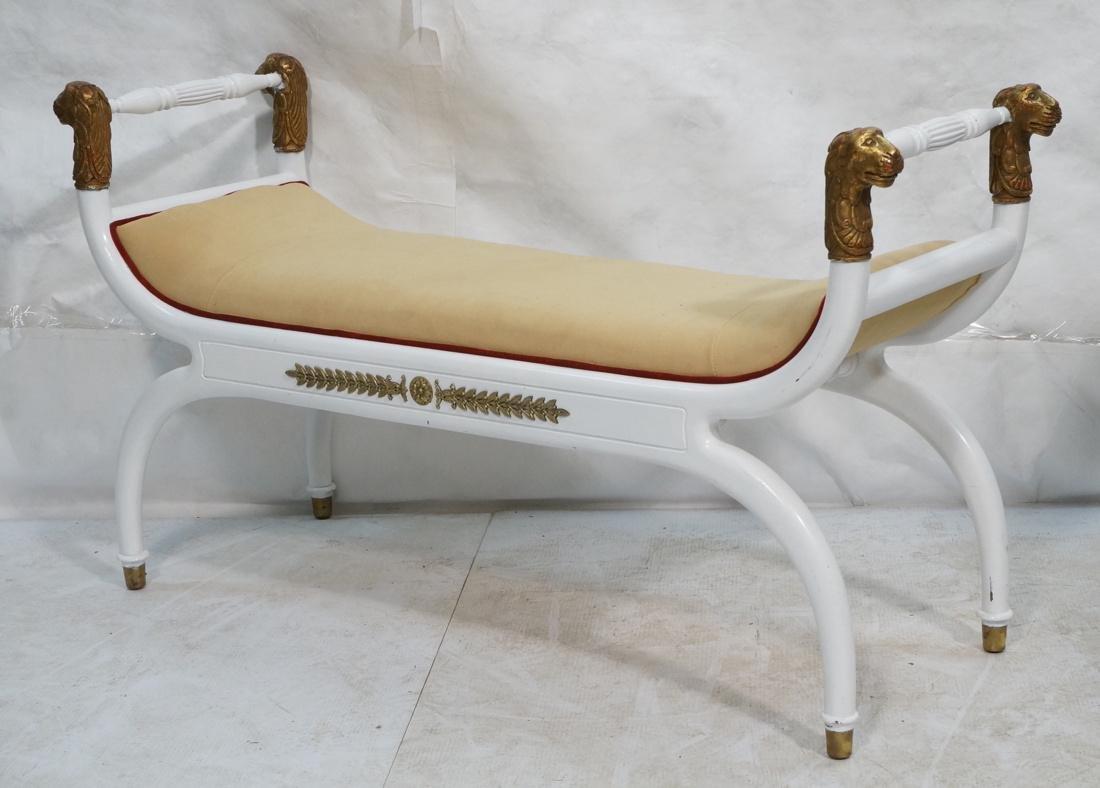 Bright White Paint Finish Decorator Bench.  Gold