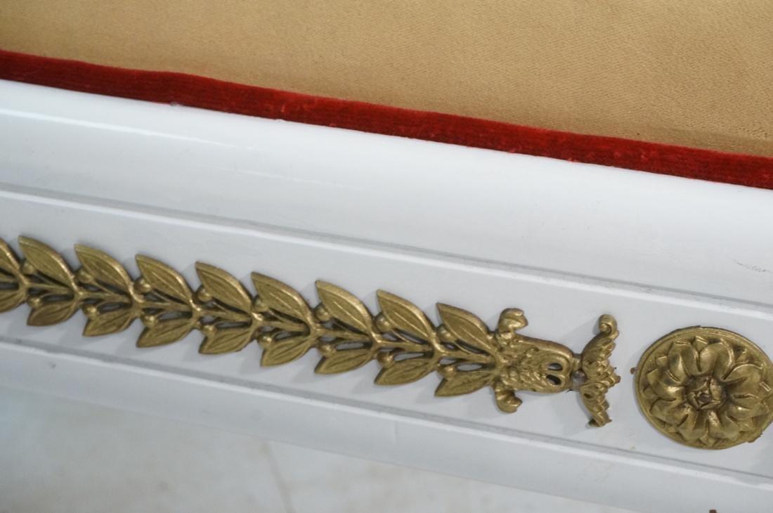 Bright White Paint Finish Decorator Bench.  Gold - 7