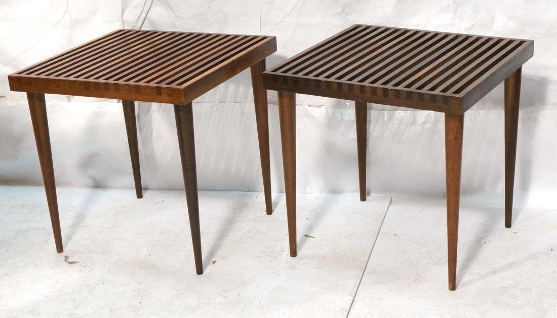 Pr Modern Square Slat Bench Stools Tables. Tall t