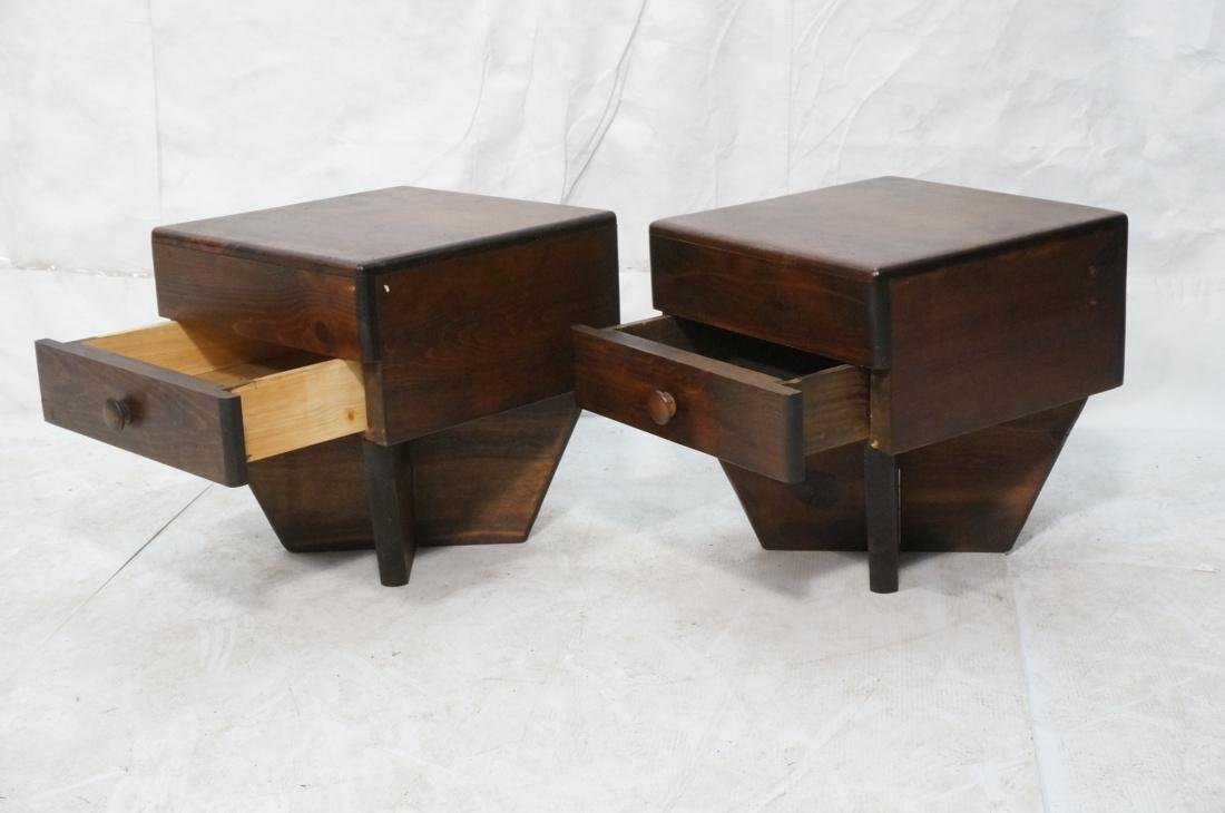 Pr Dark Pine Night Stands.Modernist . 4 part Wing - 2