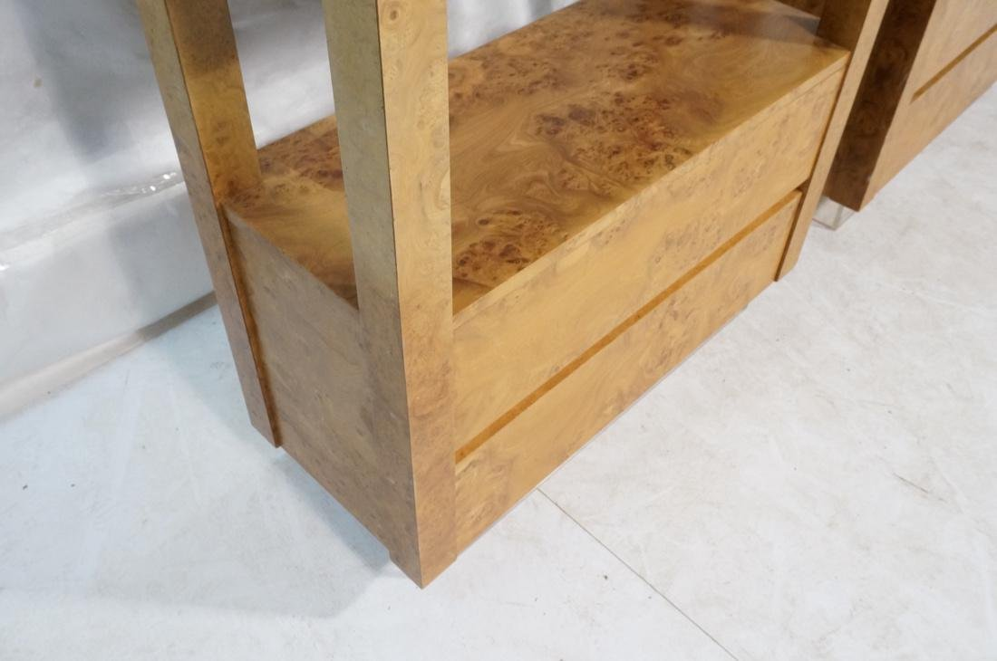Pr Large Tall Burled Wood Etageres. Thick square - 5