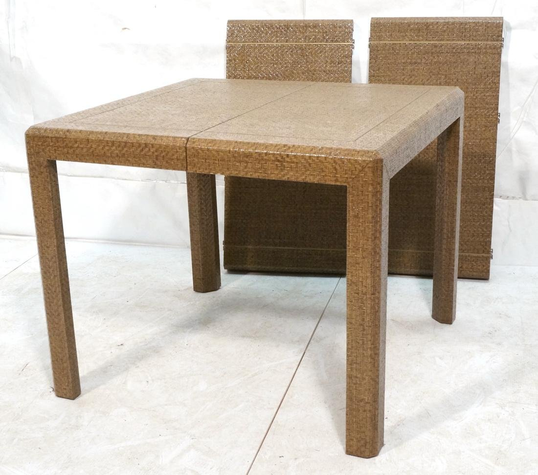 KARL SPRINGER Style Lacquered Grasscloth Dining T