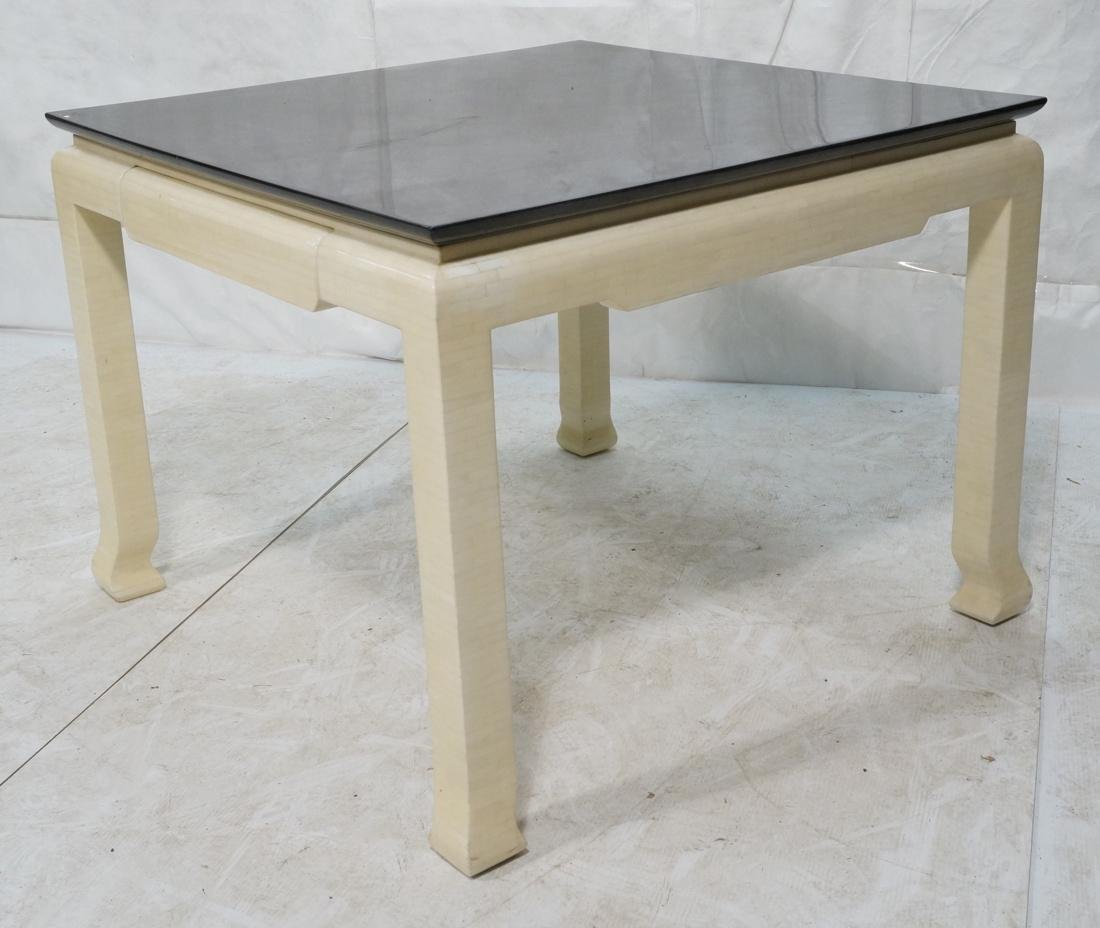 Lacquered Goatskin Square Dining Table. Ivory col