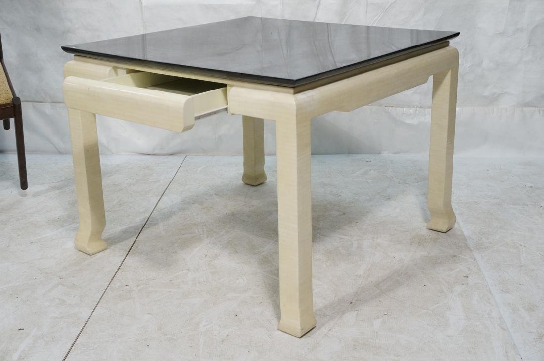 Lacquered Goatskin Square Dining Table. Ivory col - 2