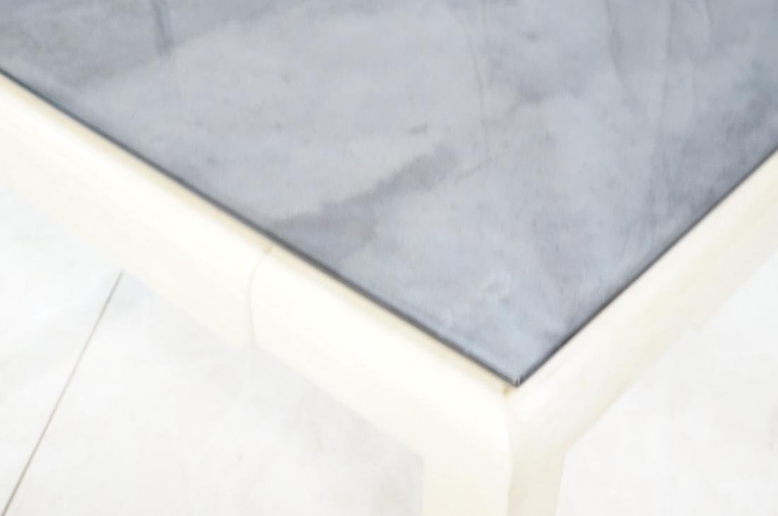 Lacquered Goatskin Square Dining Table. Ivory col - 6