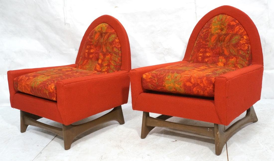 Pr ADRIAN PEARSALL Walnut Lounge Chairs. Arched b