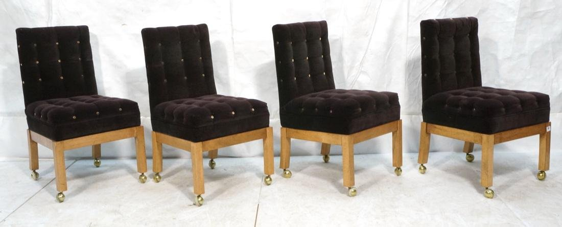 Set 4 Probber Style Dining Chairs. Brown velvet