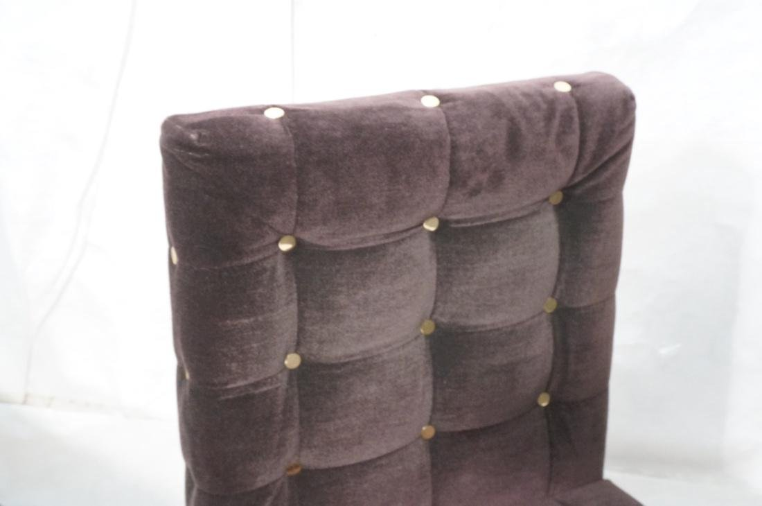 Set 4 Probber Style Dining Chairs. Brown velvet - 2