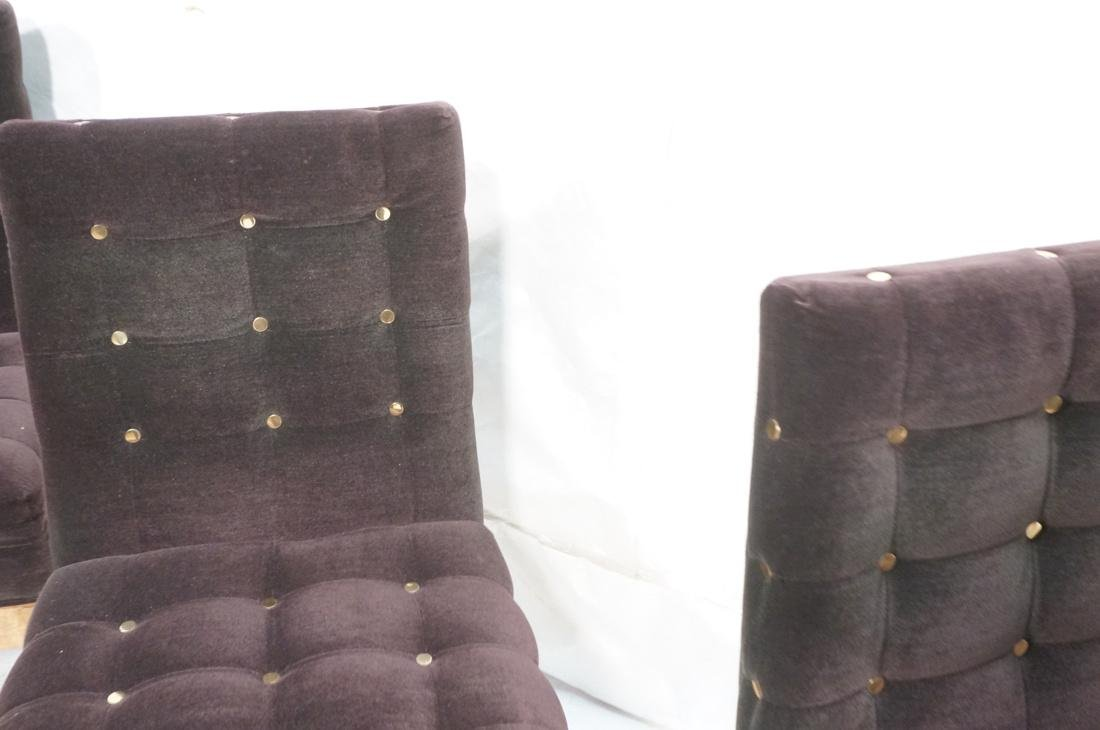 Set 4 Probber Style Dining Chairs. Brown velvet - 5