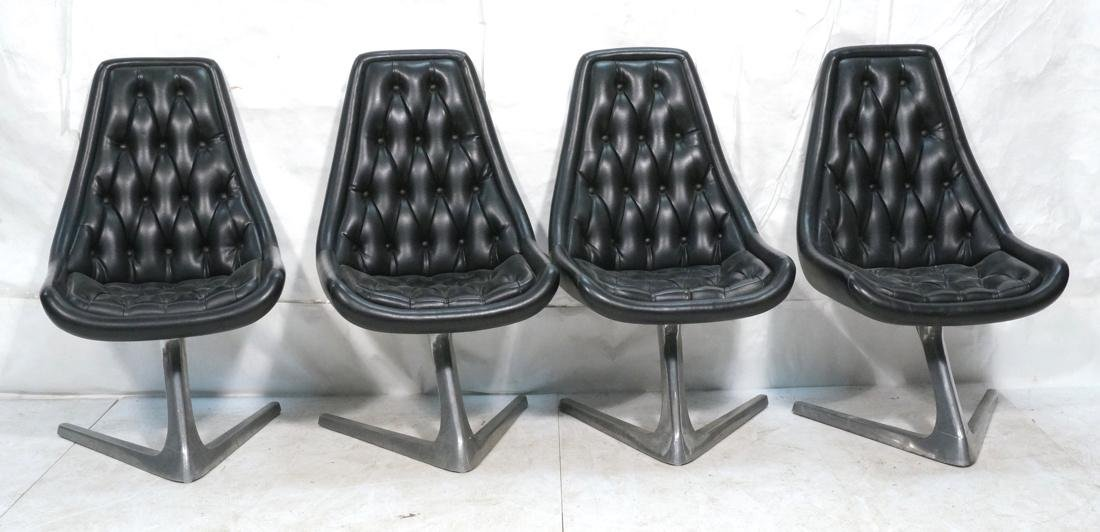 Set 4 Modern Black Vinyl Tufted Back Dining Chair