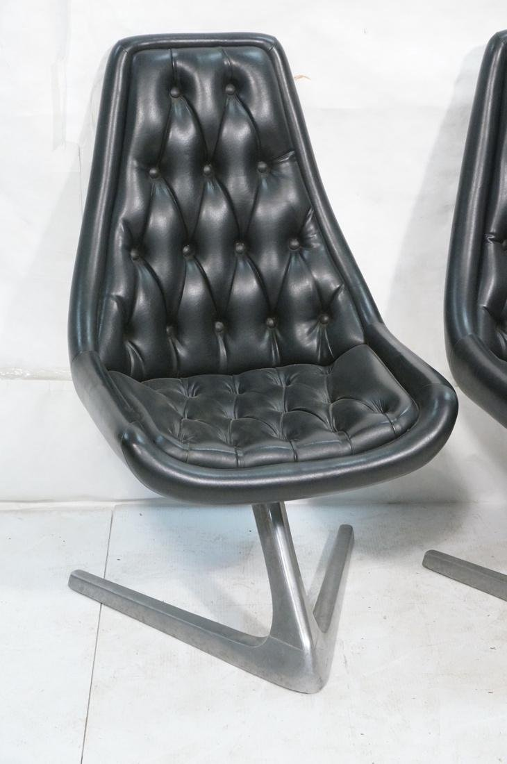 Set 4 Modern Black Vinyl Tufted Back Dining Chair - 2
