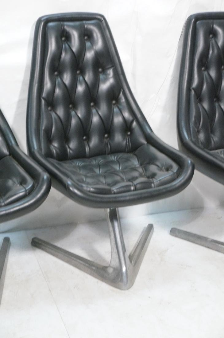 Set 4 Modern Black Vinyl Tufted Back Dining Chair - 4