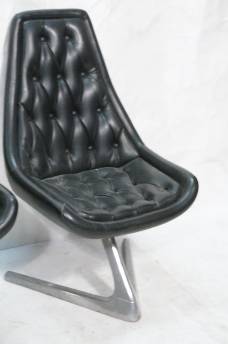 Set 4 Modern Black Vinyl Tufted Back Dining Chair - 5