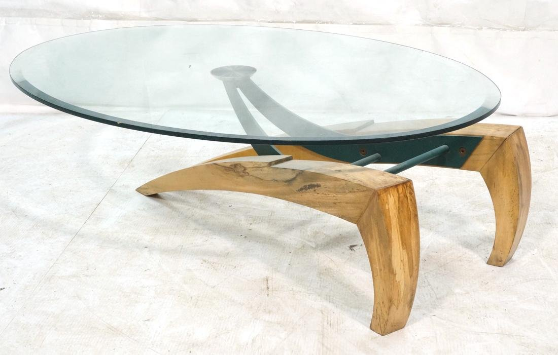 Modernist Sculpted Coffee Table. Wood and iron ba