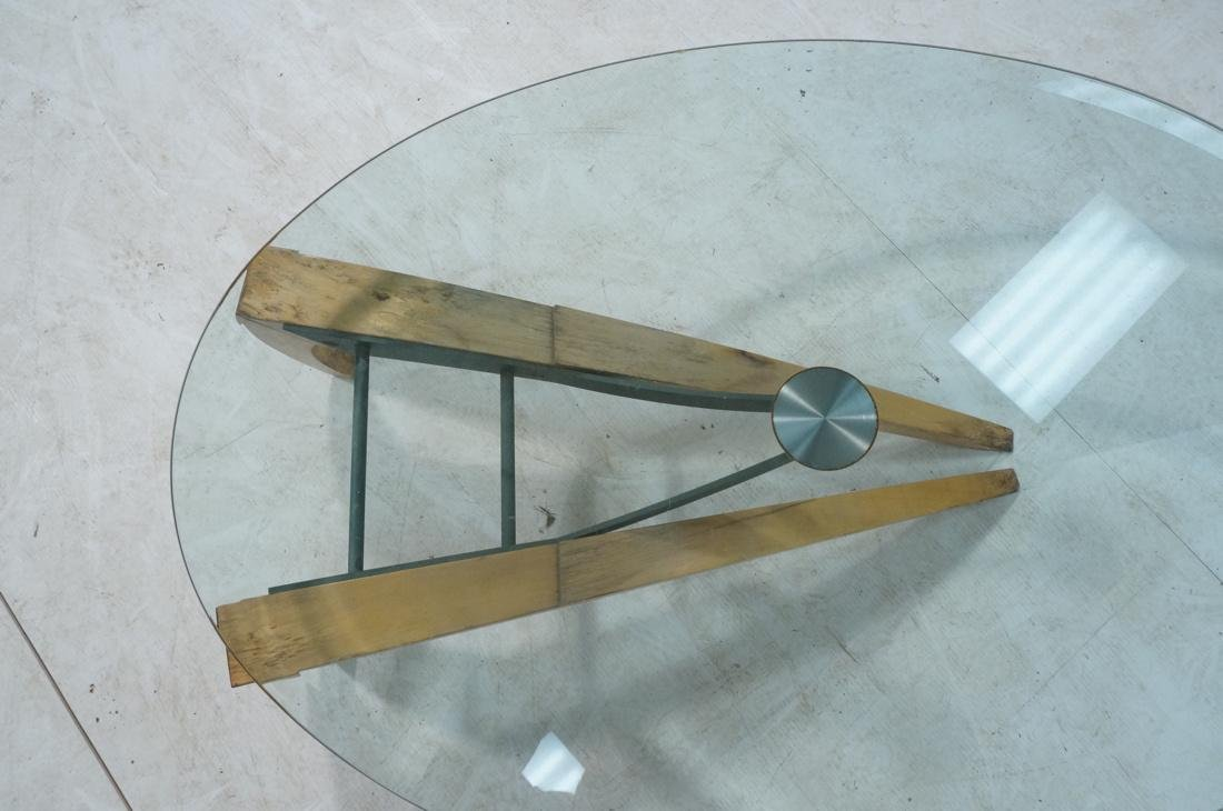 Modernist Sculpted Coffee Table. Wood and iron ba - 8