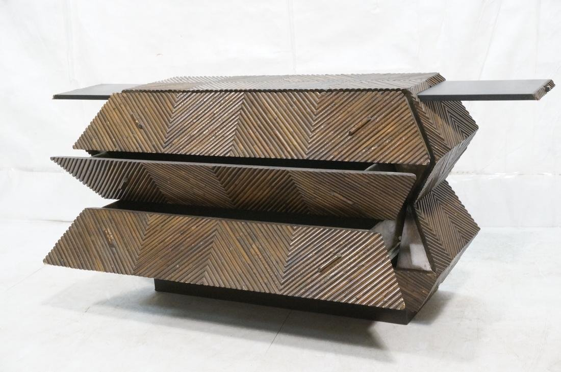 Brutalist Modern Twig Sculpted Front Chest 3 Draw - 2