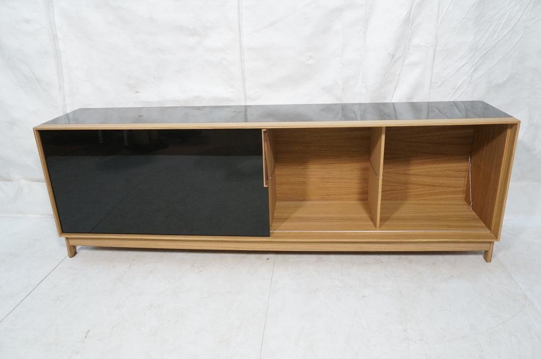 Black Lacquered Striped Exotic Wood Long Credenza - 5
