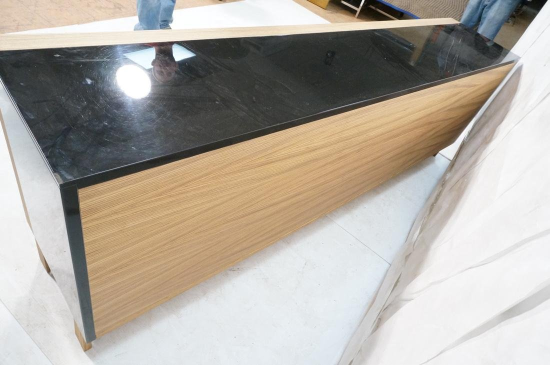 Black Lacquered Striped Exotic Wood Long Credenza - 7