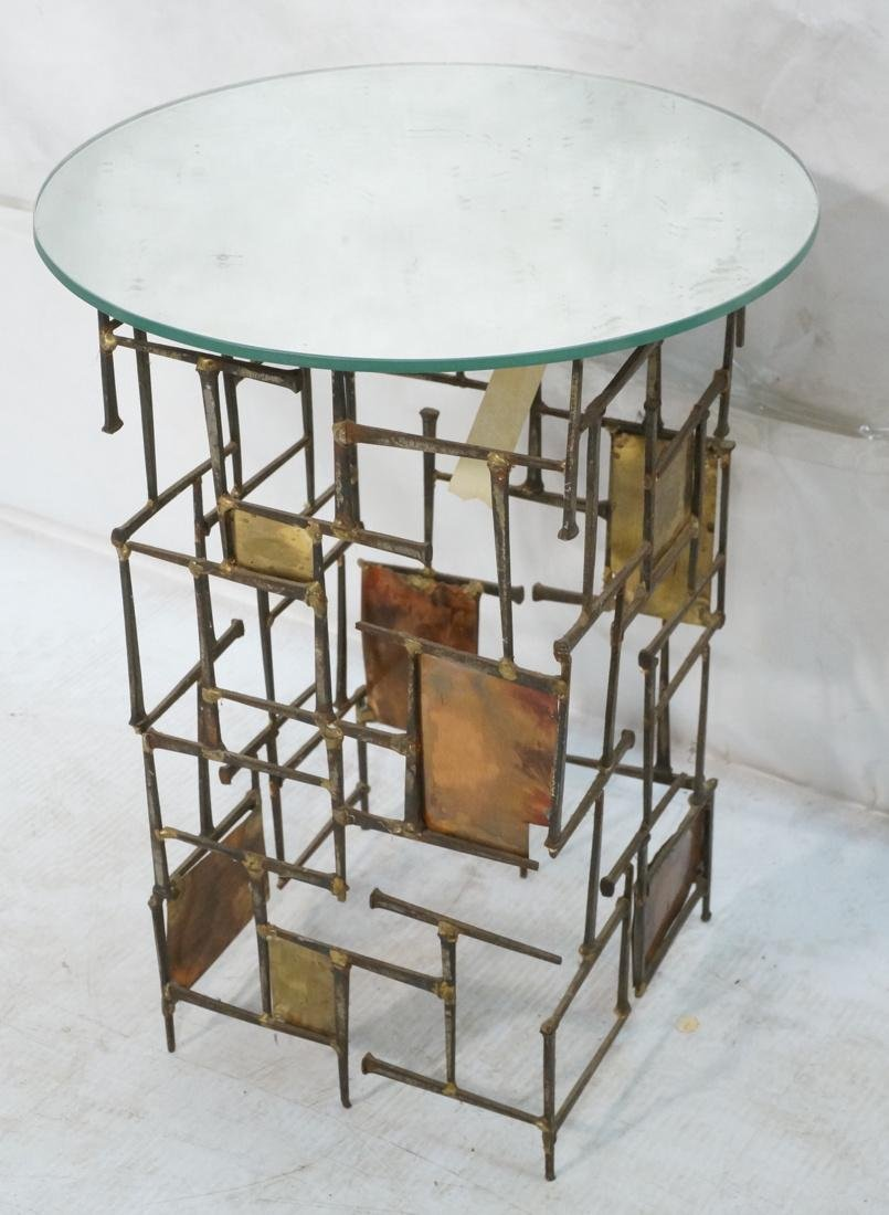 Brutalist Nail Head Mixed Metal Side Table. Repla