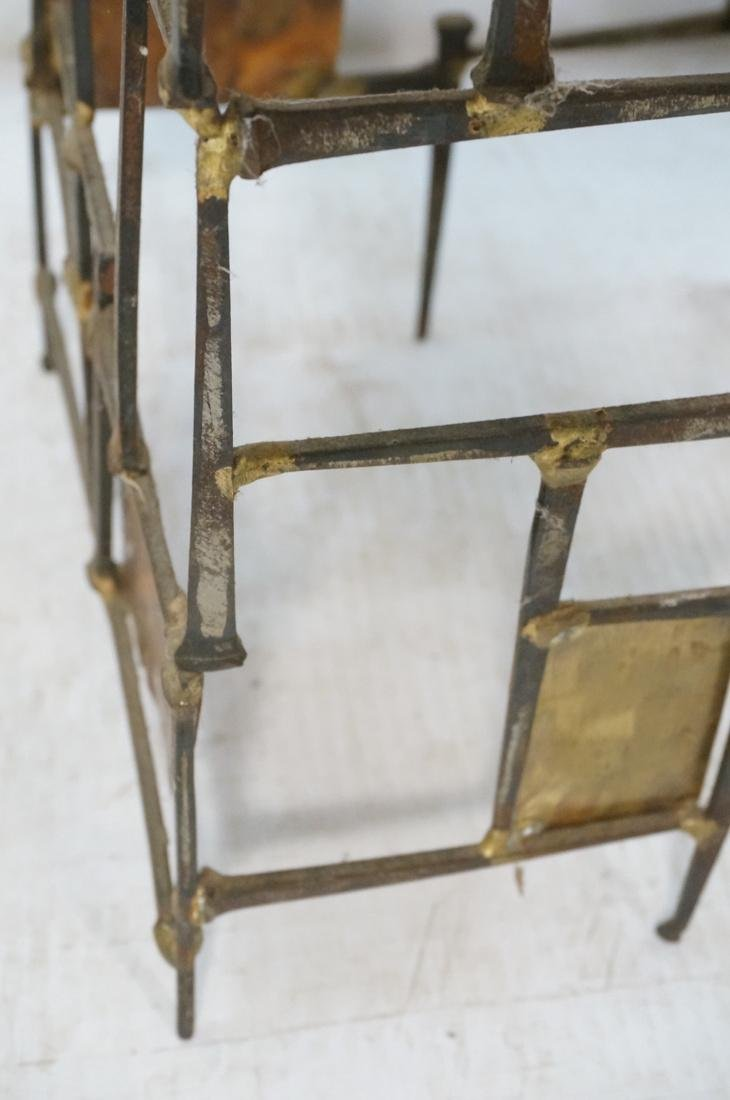 Brutalist Nail Head Mixed Metal Side Table. Repla - 3