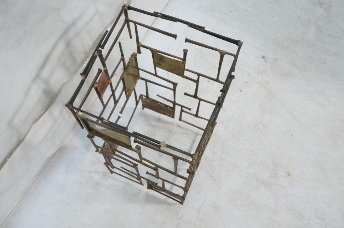 Brutalist Nail Head Mixed Metal Side Table. Repla - 6