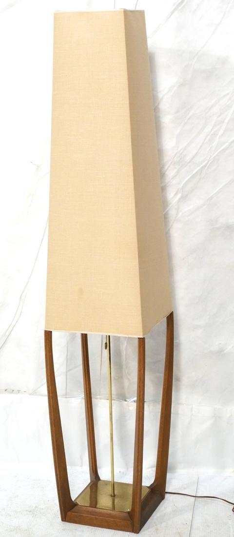 AMERICAN MODERN Walnut Floor Lamp. Fabric shade,