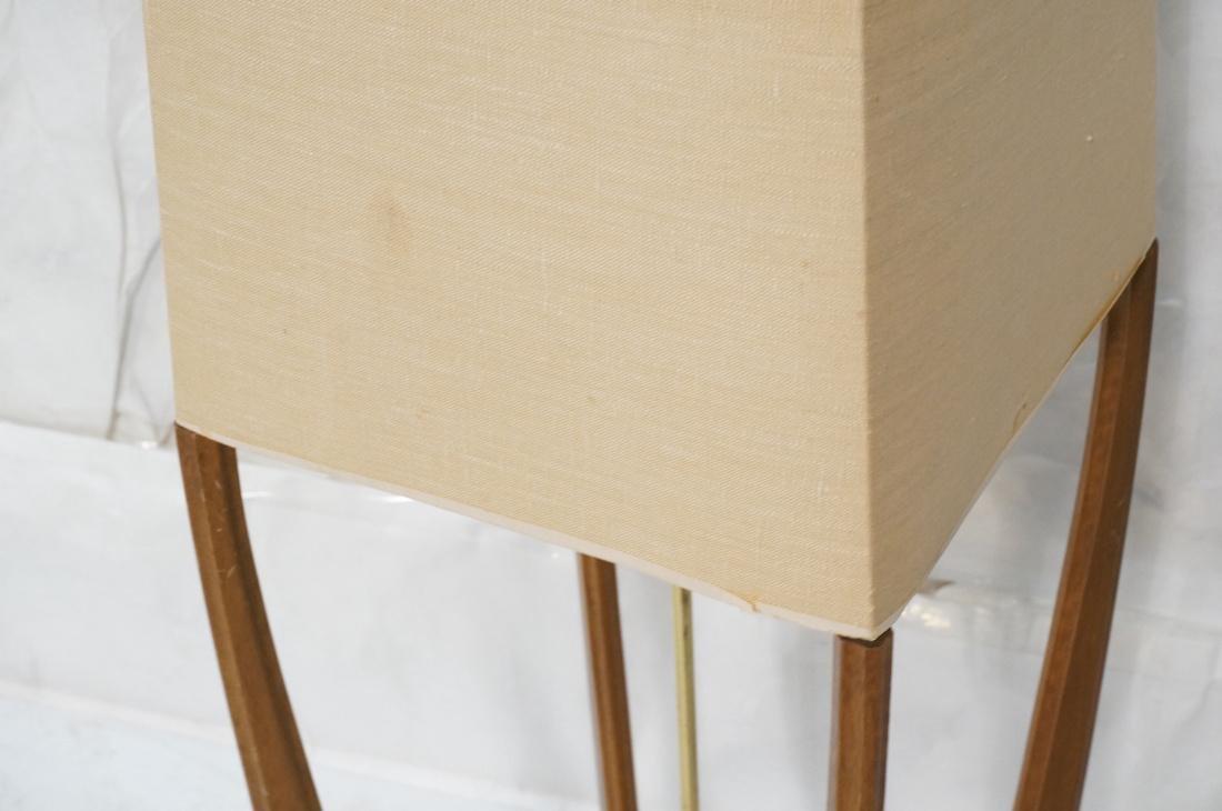 AMERICAN MODERN Walnut Floor Lamp. Fabric shade, - 4