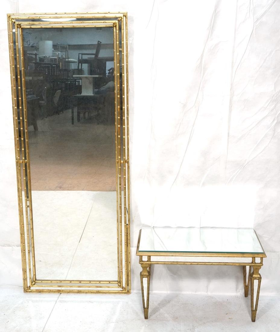 Antiqued Gilt Wood Wall Mirror. Low console table - 10
