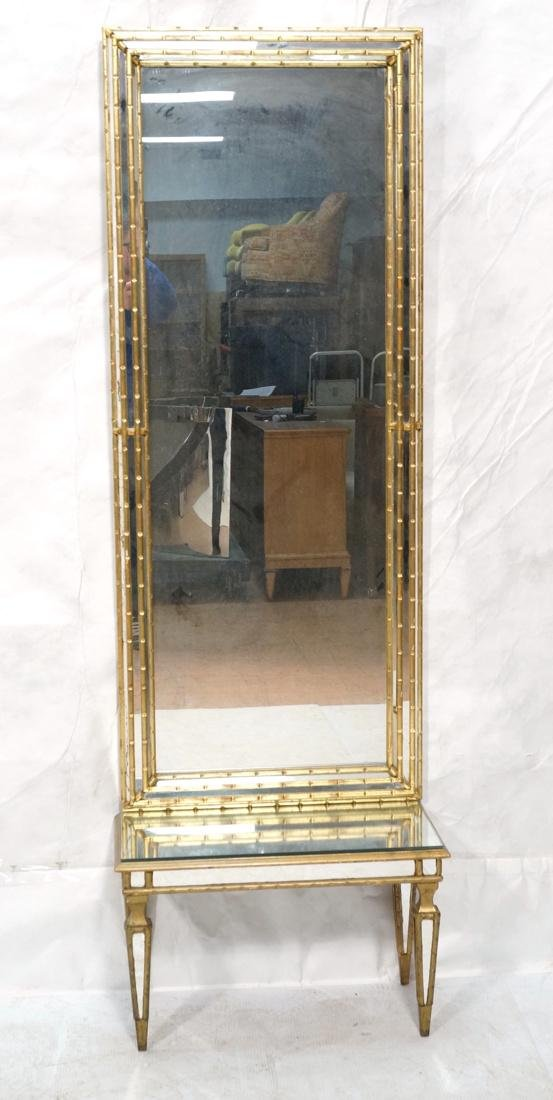 Antiqued Gilt Wood Wall Mirror. Low console table