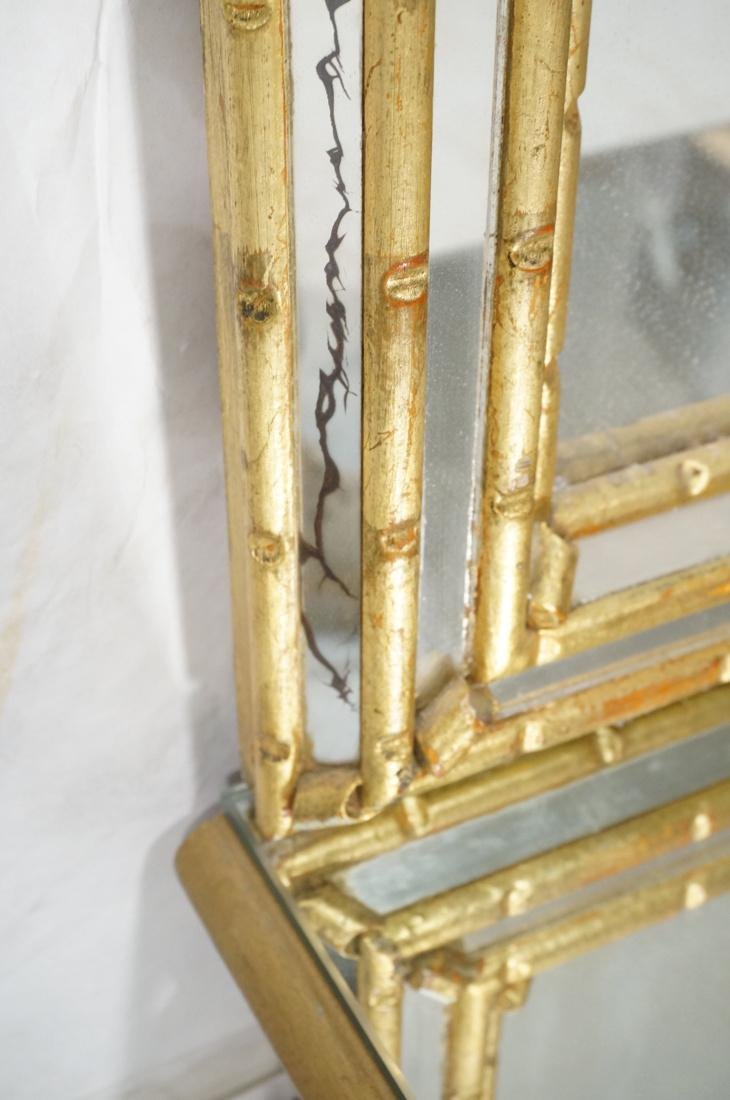 Antiqued Gilt Wood Wall Mirror. Low console table - 4