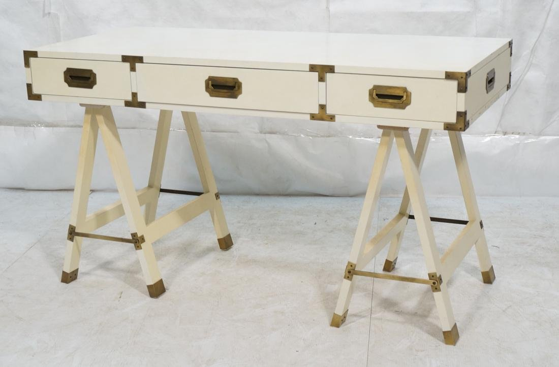 """White painted campaign desk. Two """"A"""" frame bases."""