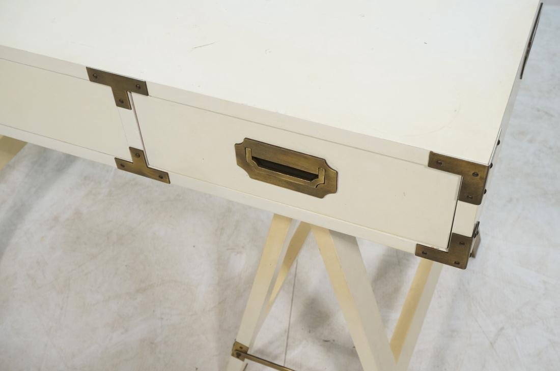 """White painted campaign desk. Two """"A"""" frame bases. - 6"""