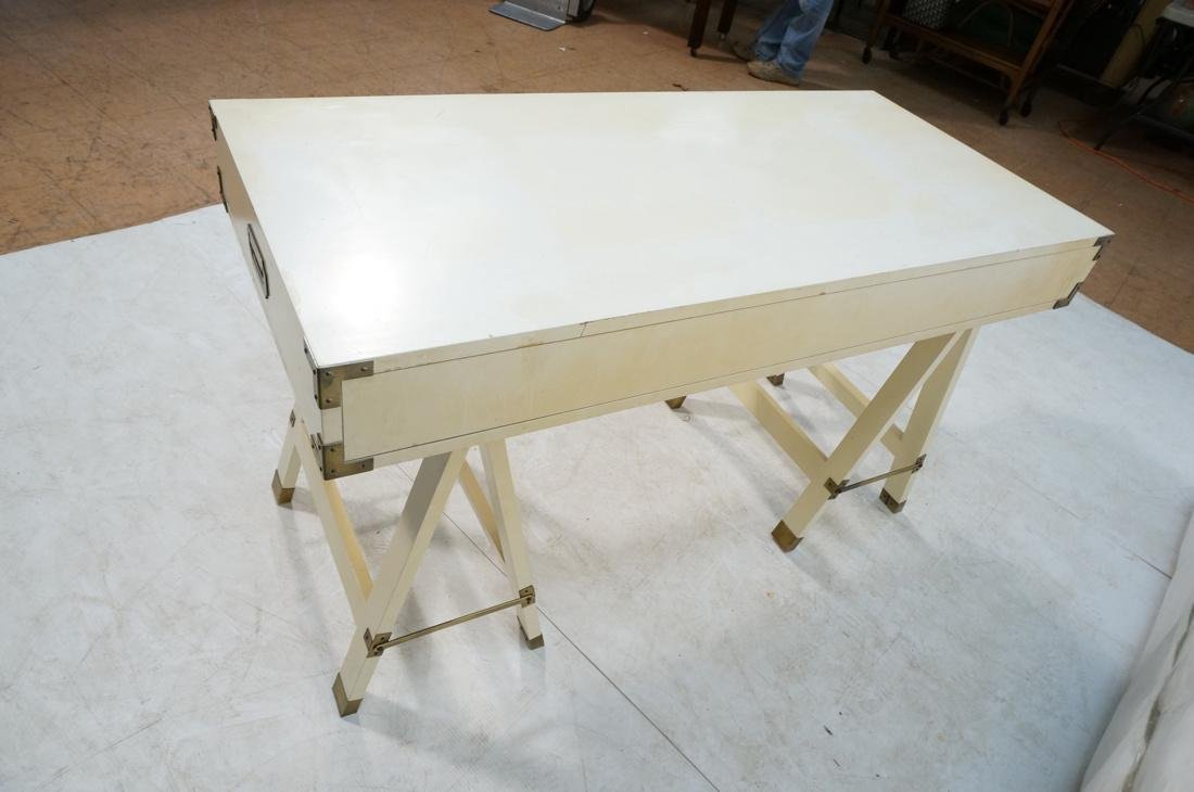 """White painted campaign desk. Two """"A"""" frame bases. - 7"""