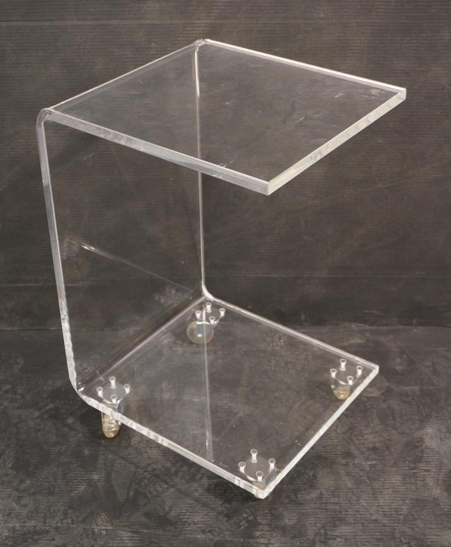 Rolling Clear Lucite Side Table Stand.