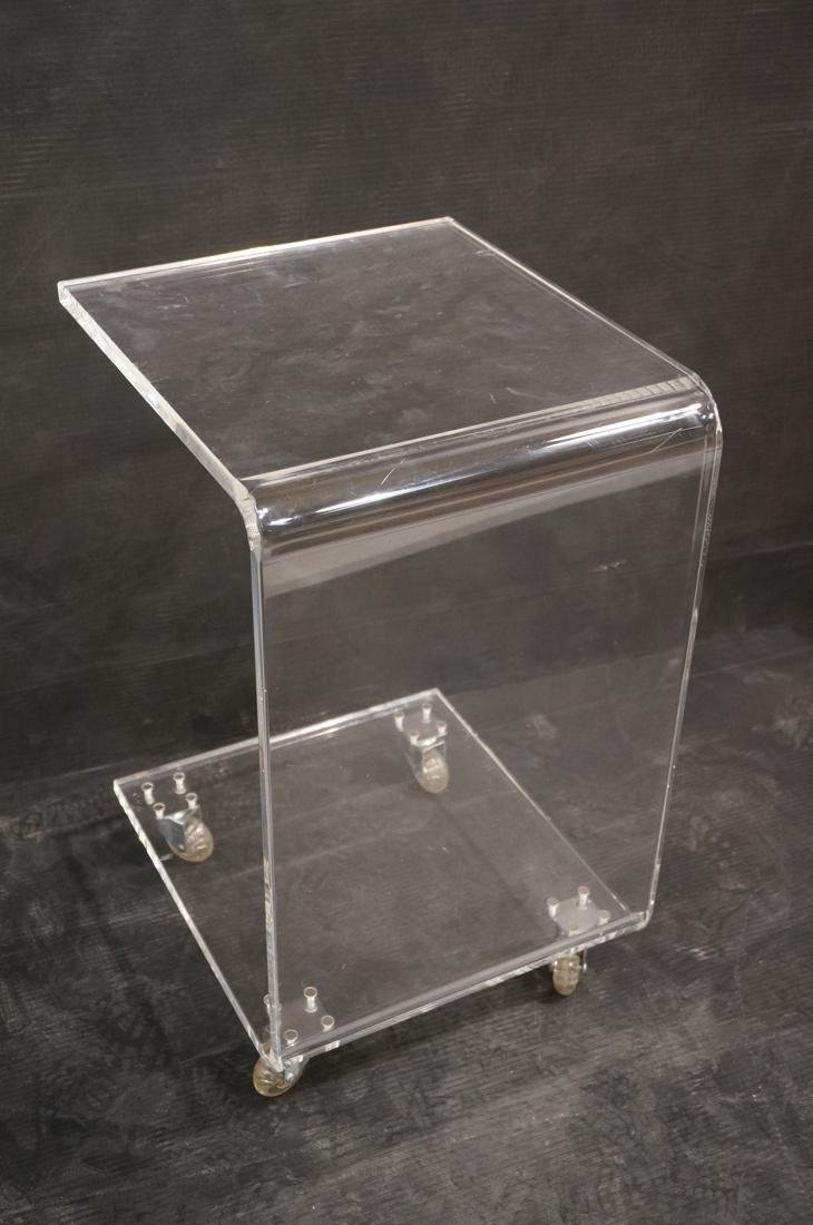 Rolling Clear Lucite Side Table Stand. - 7