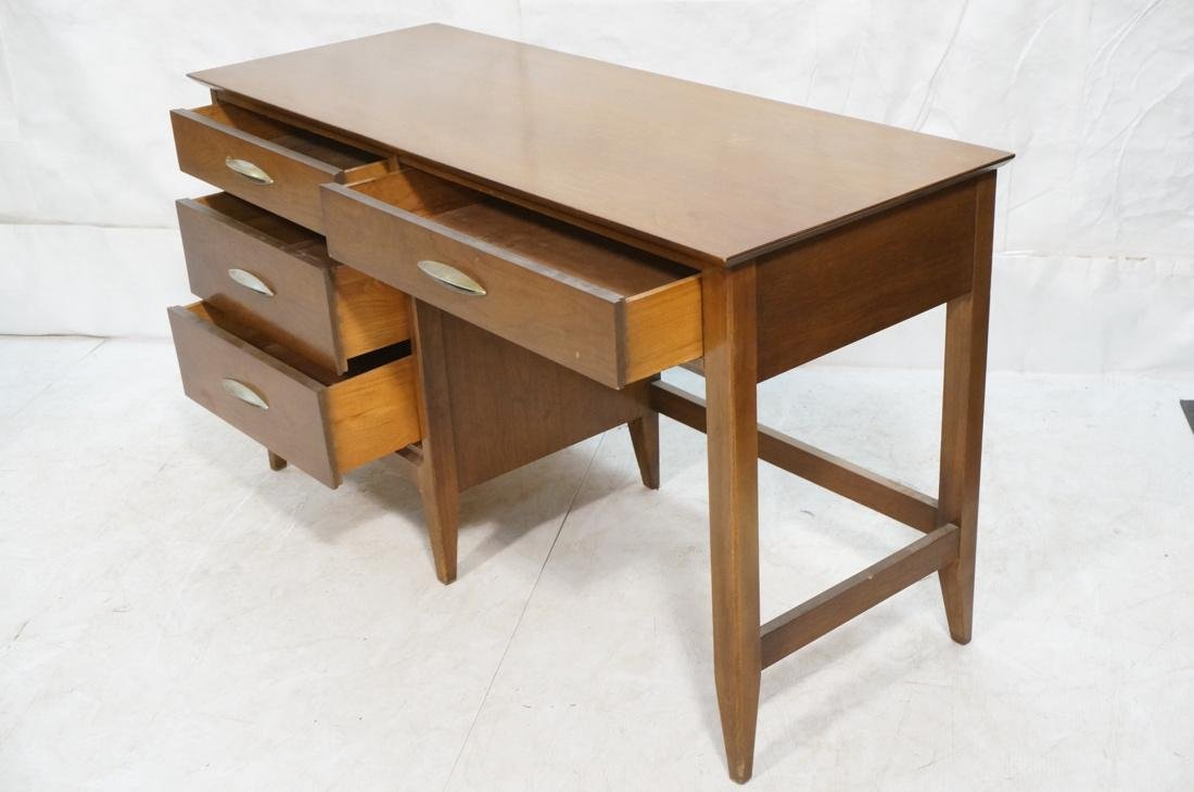 American Modern Walnut Desk. Elliptical metal pul - 2