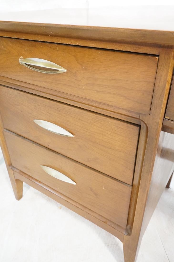 American Modern Walnut Desk. Elliptical metal pul - 5