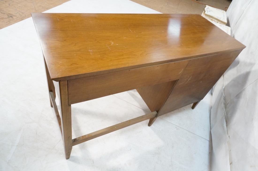 American Modern Walnut Desk. Elliptical metal pul - 8
