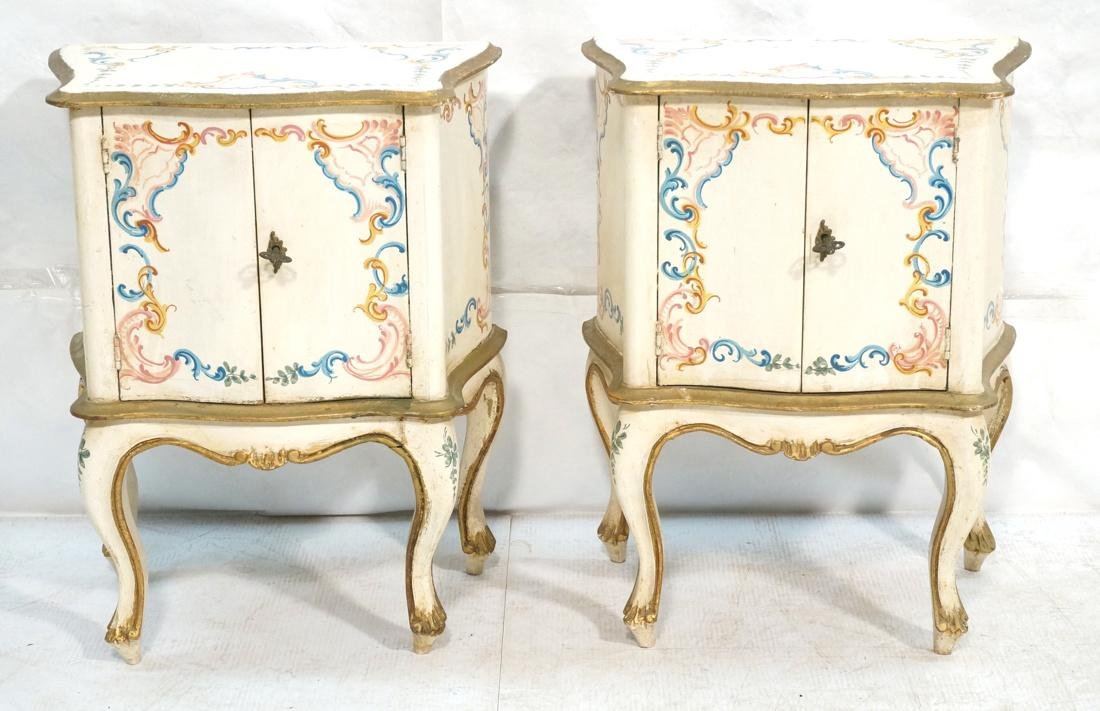 Pr French Style Painted 2 door Night Stands Table