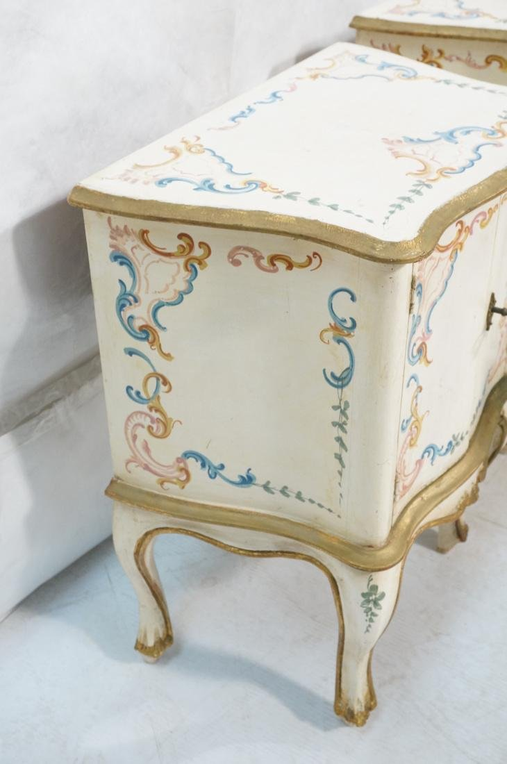 Pr French Style Painted 2 door Night Stands Table - 8