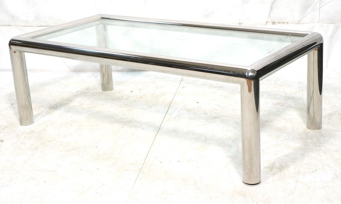 PACE Style Thick Chrome Column Tube Coffee Table.
