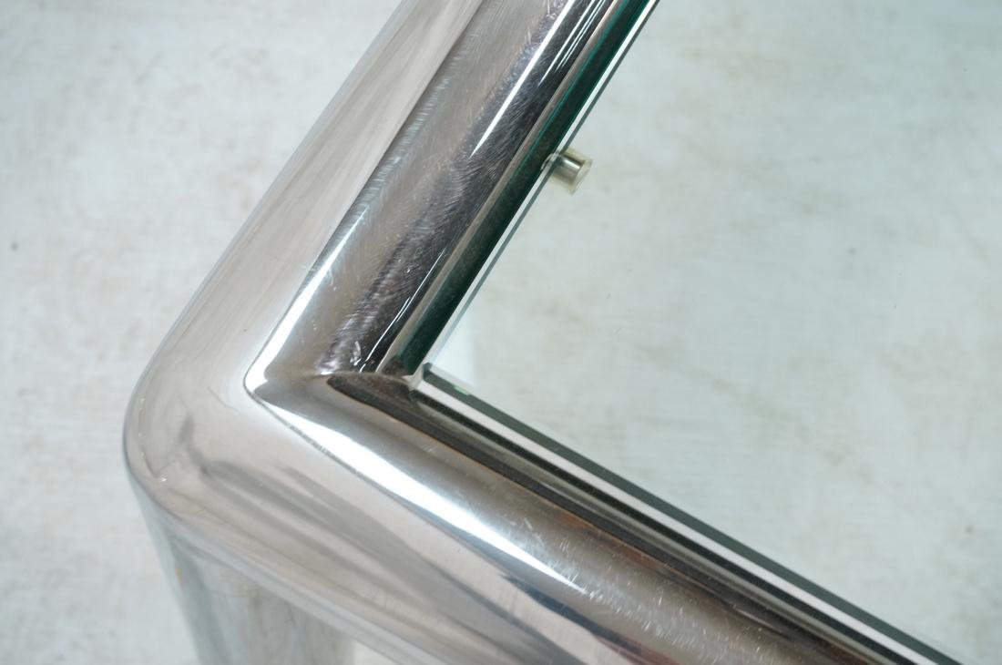 PACE Style Thick Chrome Column Tube Coffee Table. - 5