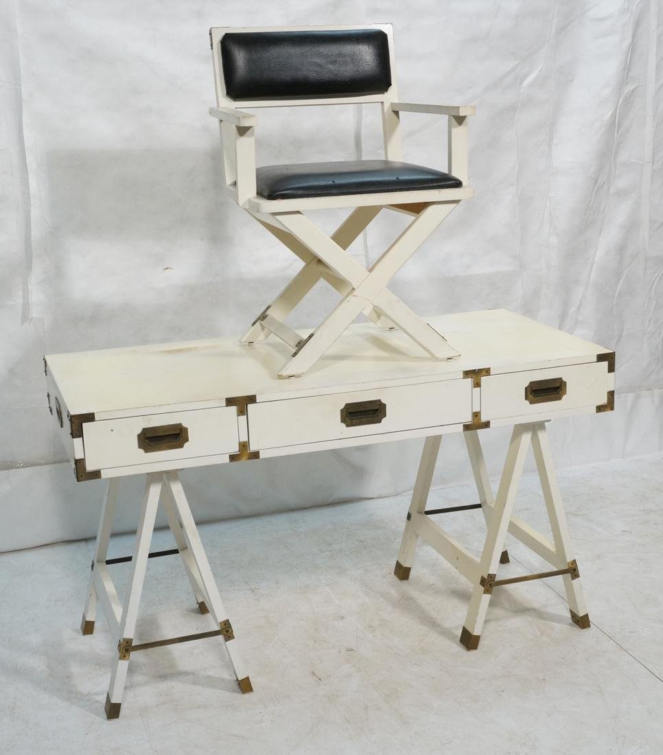 "White painted campaign desk & Chair. Two ""A"" fram"