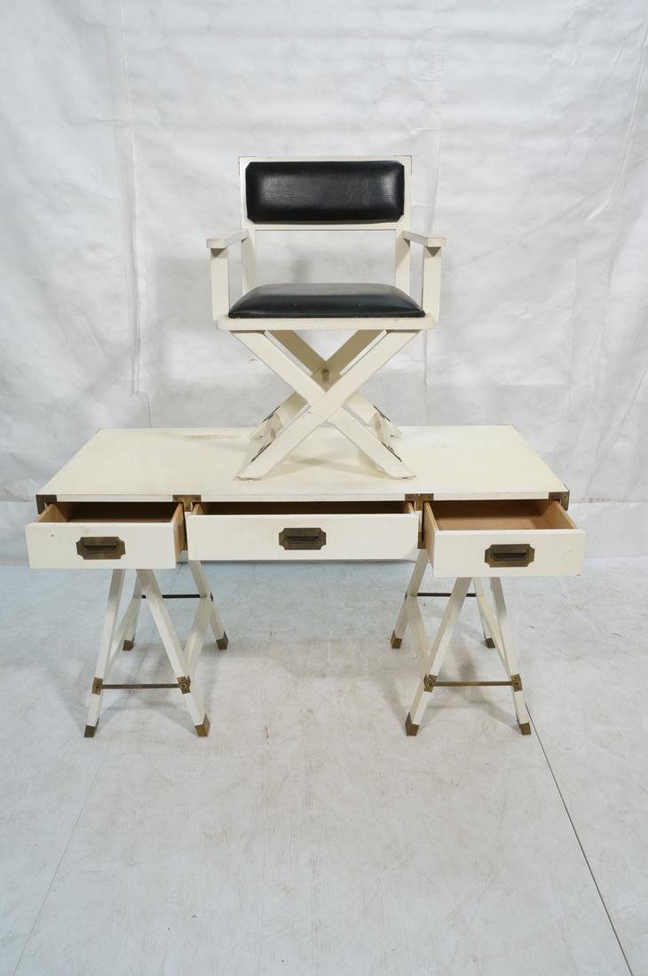 "White painted campaign desk & Chair. Two ""A"" fram - 2"